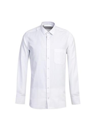 Kiğılı Uzun Kol Regular Fit Desenli Gömlek Beyaz
